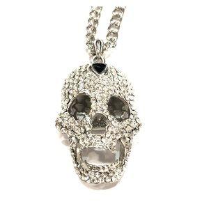 Silver rhinestone skull sweater necklace New